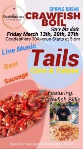 Spring Break Crawfish Boil @ Goatfeathers